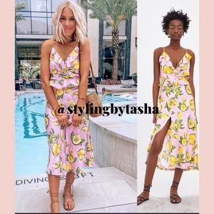 NWT Zara lemon print Skirt blogger favorite